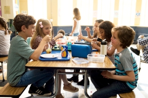"""From L to R: Noah Jupe as """"Jack Will,"""" Elle McKinnon as """"Charlotte,"""" Mille Davis as """"Summer"""" and Jacob Tremblay as """"Auggie"""" in WONDER."""